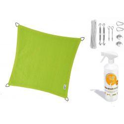 Compleet pakket: Nesling Coolfit 3.6x3.6m lime groen met RVS Bevestigingsset en buitendoekreiniger