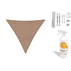 Compleet pakket: Sunfighters driehoek 6x6x6m Zand met RVS Bevestigingsset en buitendoekreiniger