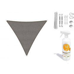 Compleet pakket: Sunfighters driehoek 5x5x5m Grijs met RVS Bevestigingsset en buitendoekreiniger