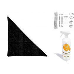 Compleet pakket: Sunfighters driehoek 3.5x4x4.5m Zwart met RVS Bevestigingsset en buitendoekreiniger