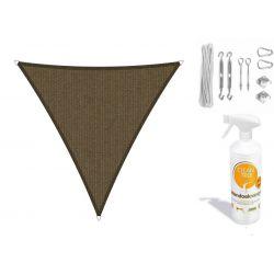 Compleet pakket: Shadow Comfort driehoek 3,6x3,6x3,6 Japanese Brown met RVS Bevestigingsset en buitendoekreiniger