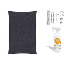Compleet pakket:  met RVS Bevestigingsset en buitendoekreinigerShadow Comfort rechthoek 4x5m Carbon Black